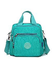 Multifunction Water Resistant Nylon Top Handle Handbag Crossbody Satchel Purse Backpack