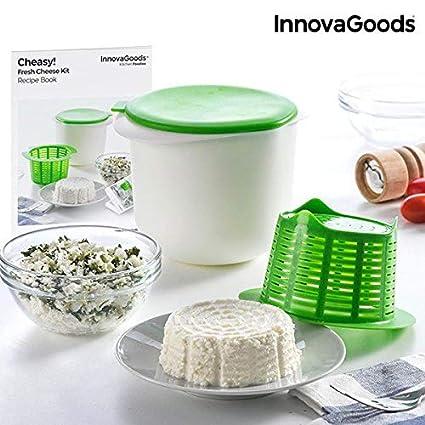 InnovaGoods Molde para Hacer Queso Casero con Recetario Cheasy, Blanco y Verde, Unitalla