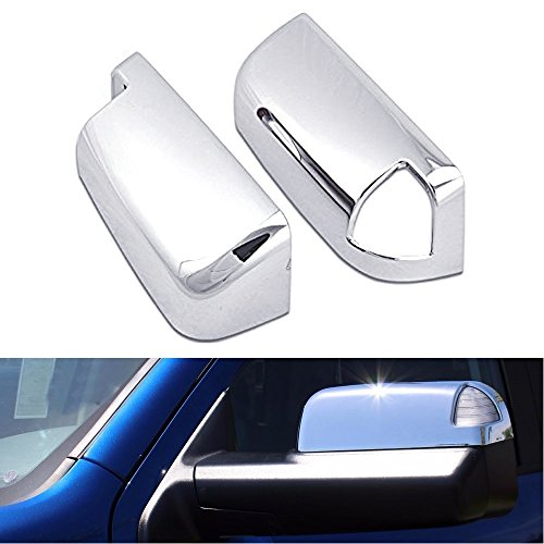 EZ MOTORING 2x Top Half Chrome Mirror Cover For 10-18 Doge Ram 1500/2500/3500 Towing Mirror With Turn Signal