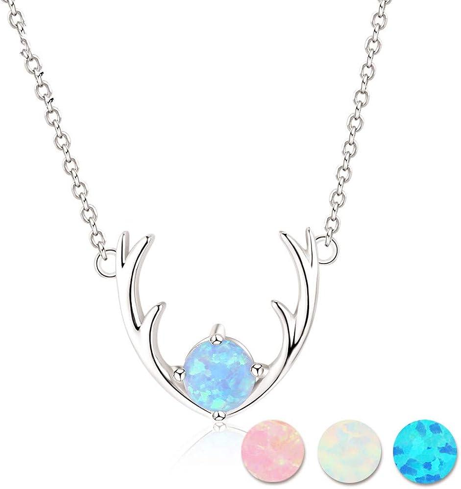QFERW Collar925 Joyería Fina de Plata esterlina Elk Deer Antlers CollarconForma de Collar deópalo Azuly Colgantes para Mujeres