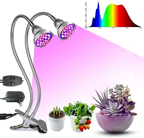 ROYFACC Grow Light 60W LED Growing Lamps Bulbs Full Spectrum Dual Head Plant Lamp 80 LED Chips Plant Lights, Adjustable Gooseneck for Indoor Plants, Double Switch Clip-On Desk