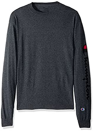 Champion Men's Classic Jersey Long Sleeve Graphic T-Shirt, Left Sc/Charcoal Heather, Small