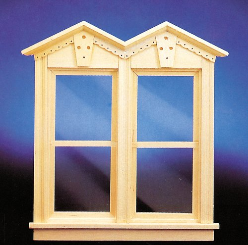 DOLLHOUSE VICTORIAN WORKING DOUBLE WINDOW unfinished ()