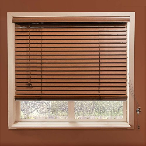 "Chicology Faux Wood Blinds / window horizontal 2-inch venetian slat, Faux Wood, Variable Light Control - Simply Brown, 46""W X 64""H"