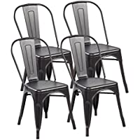 Eurosports Tolix-Style Strackable Metal Dinning Chairs with Back Set of 4,Antique Black Brushing