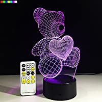 3D Night Light 7 Colors Change with Remote Nightlight for Kids Room Decor Help Kids Fell Safe at Night or As A Unique Gift Idea by Easuntec