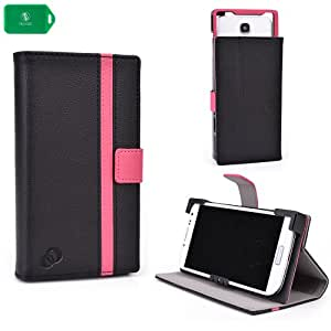 UNVERSAL SMART PHONE CASE FOR Samsung SGH [FOLIO STYLE] IN- BLACK/ PINK