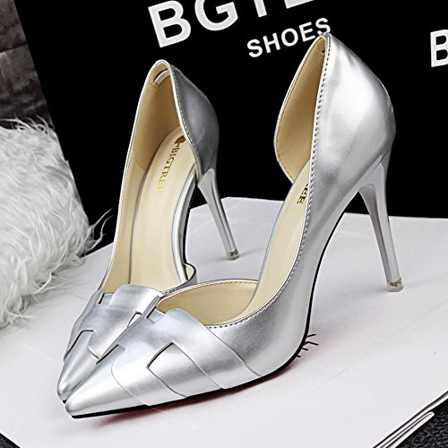 No.66 Town Women's Pointed-Toe High Heel D'Orsay Dress Pump Court Shoes Silver Ye6K0w1NP