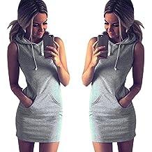 START 2016 Women Summer Casual Gray Sleeveless Hoody Dress (US=4)