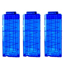 Bullet Clip, Peleustech 3Pcs Soft Bullet Clips 12 Bullets Dart Gun Clips Magazine Clip For Nerf Toy Dart Gun - Transparent Blue