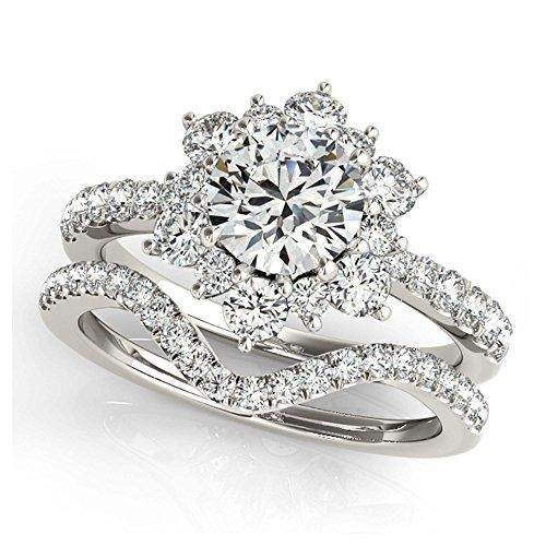 14K White Gold Unique Wedding Diamond Bridal Set Style MT50834