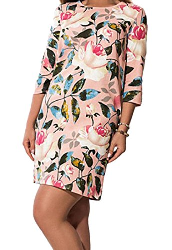 Cocktail Sleeve Pink Print Women Comfy 4 Pockets 3 Size Dress Floral Plus wzxn6fZq