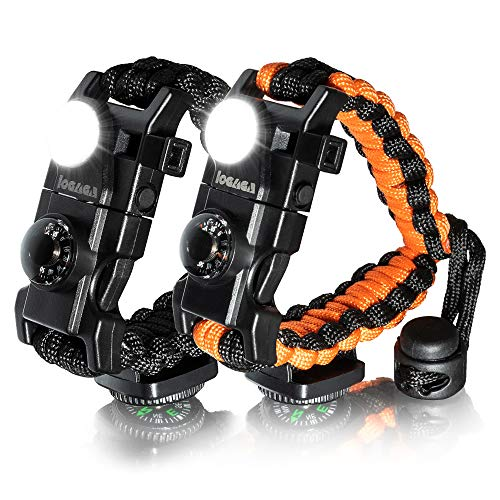 (LOGAGA Survival Paracord Bracelet, The Ultimate Tactical Survival Gear with SOS LED Light, Bigger Compass, Whistle, Fire Starter, Thermometer for Camping Hiking Outdoors - Set of 2)