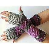 Fingerless Gloves Dark Gray Violet Purple Gray Long Mittens Arm Warmers Acrylic