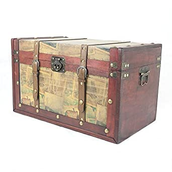 Large Vintage Style Wooden Storage Trunk Chest   Gift Idea For Christmas,  Birthday, Toy