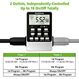 Outlet Timer, NEARPOW Dual Digital Light Timer with 2 Independently-controlled Outlets, 18 ON/OFF Programs, 24-Hour and 7-Day Programmable,Indoor Heavy Duty Electrical Timer Switch, 3 Prong, 15A/1800W