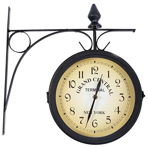 Giantex Double Sided Wall Clock Vintage Antique-Look Mount Station Garden Hallway Home Décor Wall Hanging Metal Clock