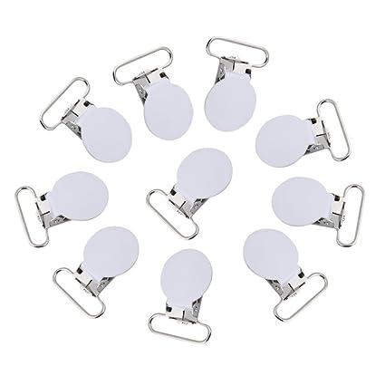Clips para chupete, 10 piezas de metal redondo suspensor snap ...