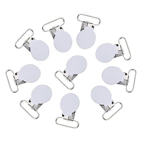 Clips para chupete, 10 piezas de metal redondo suspensor snap chupete correa titular para hacer bricolaje artesanía de cuero(blanco)
