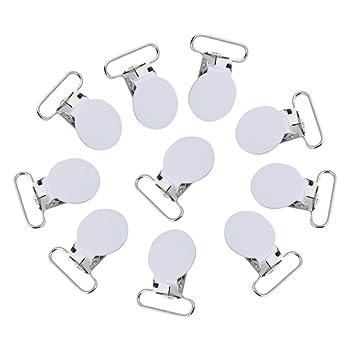 Hilitand Baby Chupete Clip Soporte, 10 Unidades 25 mm Forma Redonda Metal Chupete Clips Tirantes Clips para Mordedor Juguete: Amazon.es: Hogar