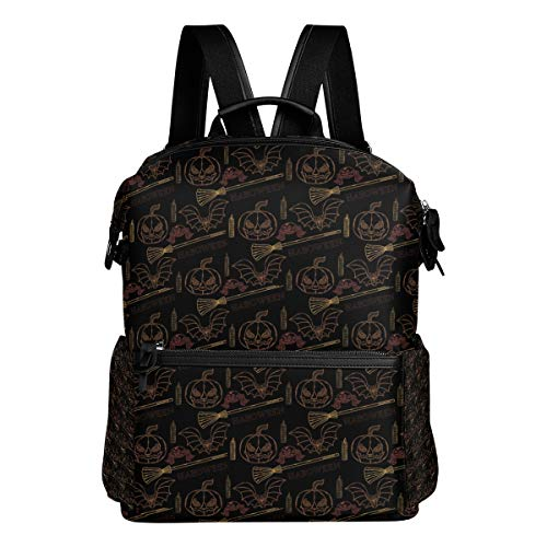 Travel Laptop Backpack Halloween With Themed Elements Durable College School Computer Bookbag for Outdoor Camping ()