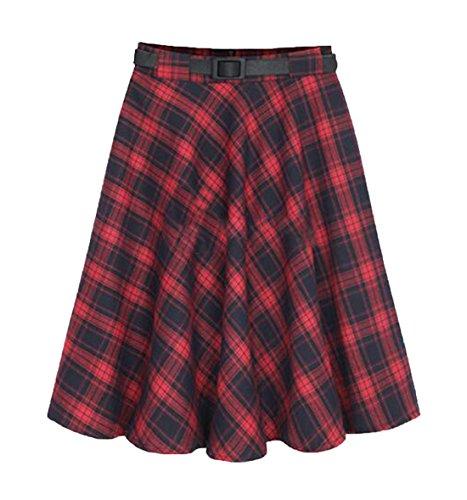 Ez-sofei-Womens-Knee-Length-Plaid-Pleated-Rockabilly-Skirts