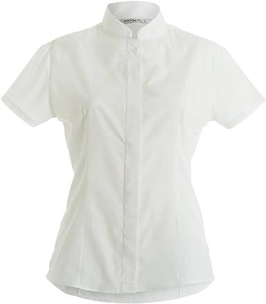Cuello mao camisa cabida manga corta de las mujeres: Amazon.es: Hogar