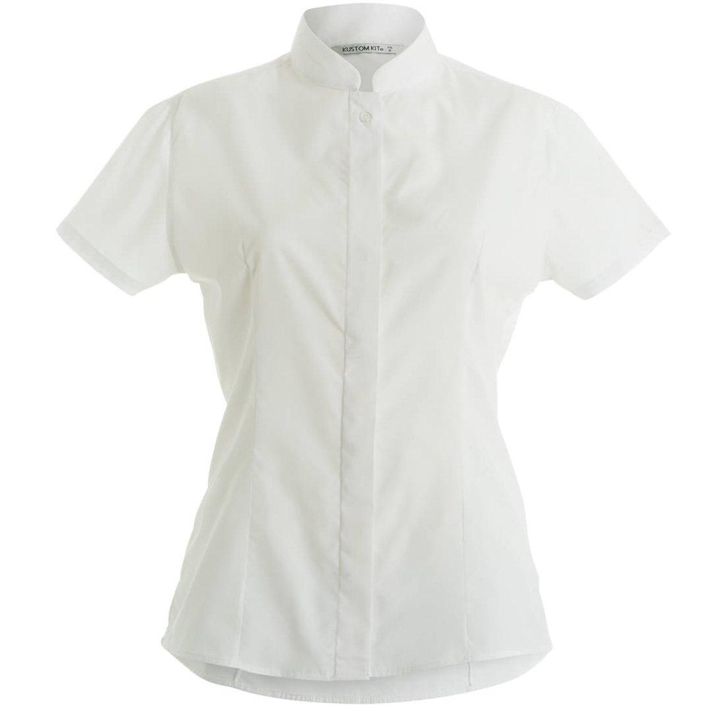 Kustom Kit Womens/Ladies Mandarin Collar Fitted Short Sleeve Shirt