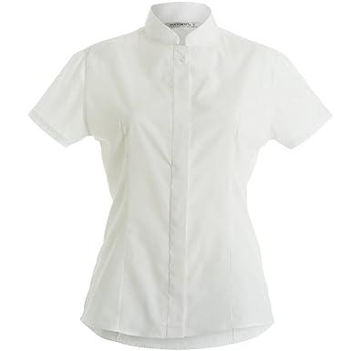 c0f2663eeaaa Kustom Kit Womens Ladies Mandarin Collar Fitted Short Sleeve Shirt (8)  (White