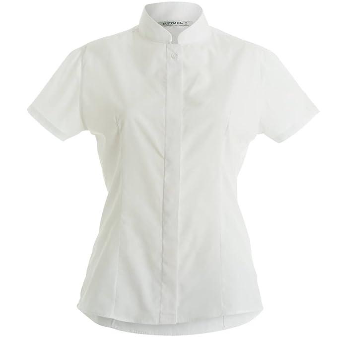 fb5938f89 Kustom Kit- Camisa de manga corta con cuello mandarín para mujer   Amazon.es  Hogar