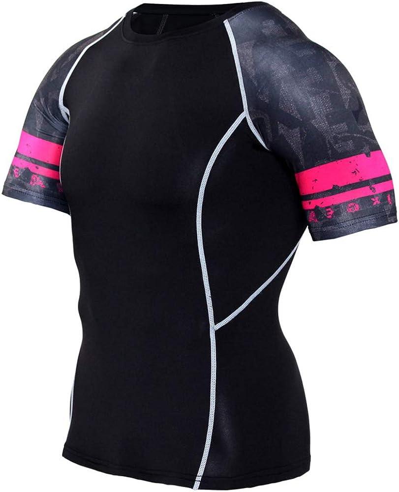 Mens Dri-Fit Sport Shirts Short Sleeve Black Compression Workouts Shirt
