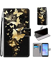 Miagon Full Body Case for Huawei Honor 9 Lite,Colorful Pattern Design PU Leather Flip Wallet Case Cover with Magnetic Closure Stand Card Slot,Gold Butterfly