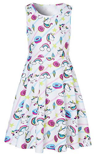 Little Girls Unicorn Dress for 6t 7t Elf Daughter's Rose Donut 3D Printed Rainbow Solid Twirl One-piece Dress for School Student Children Casual Home Holiday Beach Wedding Party Basic Style (Size 6 7) ()