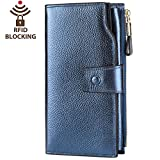 Itslife Women's RFID Blocking Large Capacity Luxury Wax Genuine Leather Clutch Wallet Card Holder Organizer Ladies Purse (4-Pebbled Blue Gold)