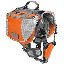 Pawaboo Dog Backpack, Pet Adjustable Saddle Bag Harness Carrier, for Traveling Hiking Camping, Suitable for 39 lb - 60 lb Pet, Orange & Gray