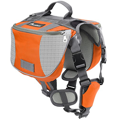 Pawaboo Dog Backpack, Pet Adjustable Saddle Bag Harness Carrier, for Traveling Hiking Camping, Medium Size, Orange & Gray