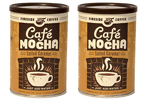 2 Pack - Fireside Coffee Café Mocha Gourmet Coffee Salted Caramel, 8 Oz Canister (Water Salted)