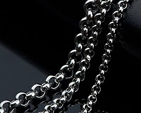 FidgetKute 16-32 in Bulk Stainless Steel Fashion Rolo Chain Necklace Silver Color Bling 4mm 24inch 10pcs// lot