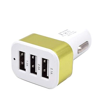 Demino DC 5.0V 2.1A Adaptador / 2A / 1A Coche Universal 3 Puertos USB Cargador de teléfono de Carga rápida Enchufe USB Verde