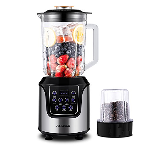 AimoresProfessional BlenderforShakes and Smoothies,FoodProcessor,4-in-1 High SpeedProgrammed JuiceBlender,with 52oz Glass Jug,Grinding Cup for Beans,6 Blades,Tamper&Recipe,ETL/FDA (Silver) (Halloween Salad Recipes)