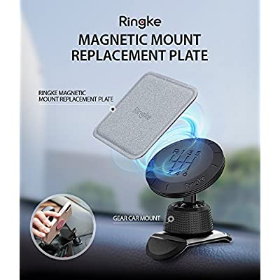 Ringke Magnetic Mount Replacement Metal Plate Kit (6 Pack, 3 Square and 3 Round) with 3M Adhesive Pad and Universally Compatible for Magnet Phone Car Holder Cradle – Assorted Colors
