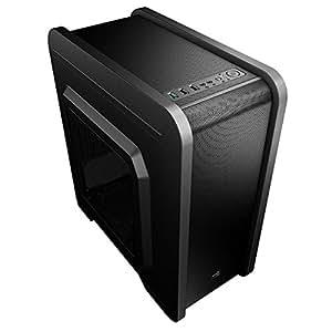 Aerocool QS240 - Caja gaming para PC (ATX, incluye ventilador trasero 12 cm, 4 slots de expansión, refrigeración de agua, USB 3.0/2.0, Audio HD,PSU), color negro
