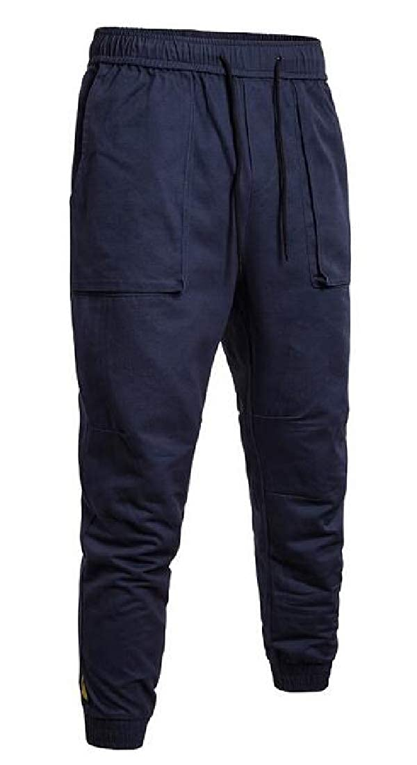 Fensajomon Mens Relaxed Fit Casual Plain Drawstring Utility Cargo Jogger Pants