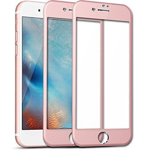 """iPhone 7 Plus Screen Protector, SmartLegend [2-Pack] 9H Premium HD Clear Full Coverage Tempered Glass [Rounded Edge] Screen Protector Films with Metal Frame Protection for iPhone 7 Plus 5.5"""" Rose Gold"""