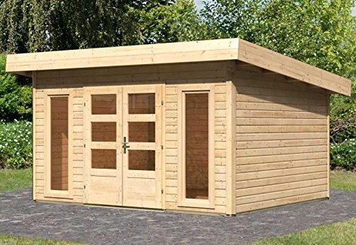 Karibu Woodfeeling Gartenhaus Northeim 4 naturbelassen 40 mm Außenmaß (B x T): 369 x 309 cm Dachstand (B x T): 418 x 360 cm Wandstärke: 40 mm umbauter Raum: 23,0 cbm Bauweise: Steck-/Schraubsystem Ausführung: naturbelassen