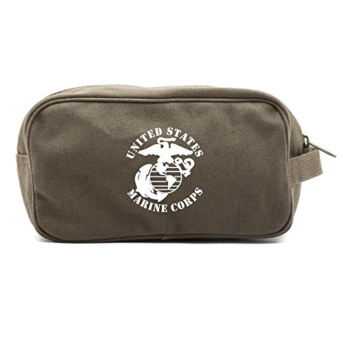 United States Marine Corps Canvas Dual Compartment Toiletry Bag, Olive & White