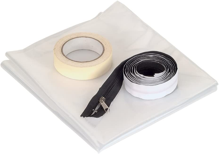 Wolfcraft 4005000 4005000-1 Barrera antisuciedad, Contenido: lámina de plástico Extra Gruesa para la construcción, una Cremallera autoadhesiva asegura una Entrada y Salida Flexible, Cinta Adhesiva Pot