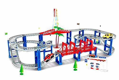 Electric RC Slot Car Racing Track Sets Dual Speed Mode Race Track for Boys and Girls - Colorful LED Lights, 2 Slot Racing Car