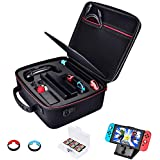 Diocall Hard Carry Case Compatible with Nintendo Switch System and Pro Controller, Extra Accessories Bundle Includes Compact Stand, Game Cards Case and Joy-Con Thumb Grips