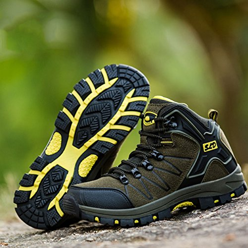Sneakers Outdoor Waterproof up Hiking Boots Army Trekking Anti Shoes Womens Green Slip Hoxekle Sports Mountain Laces BqfxRw8z7